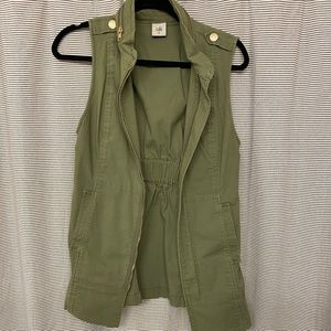 Olive green long length vest with gold buttons
